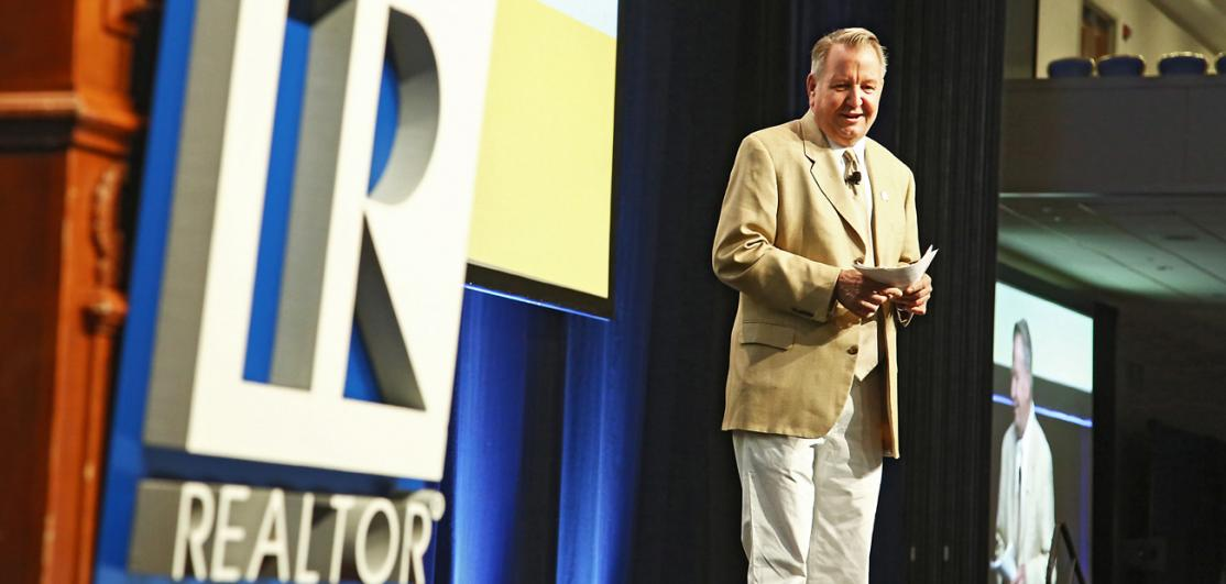 John Smaby onstage at the REALTORS® Legislative Meetings & Trade Expo in Washington, D.C.,