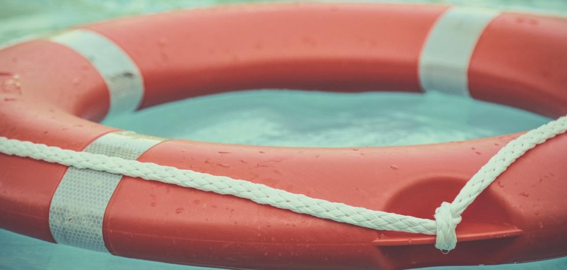 A flotation device on water