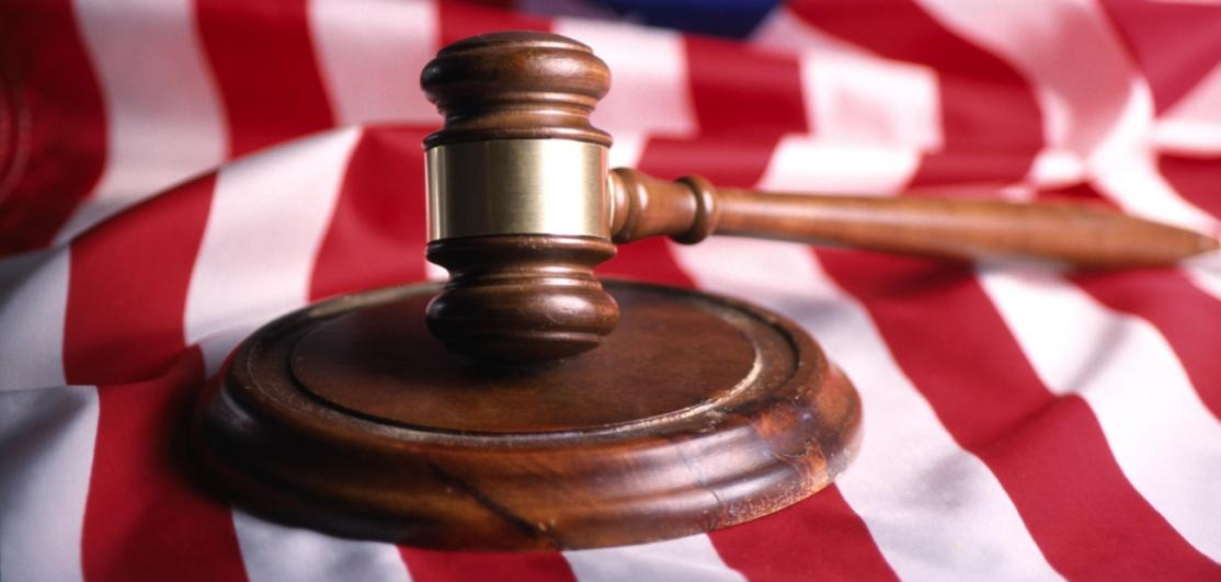 A gavel on an American flag