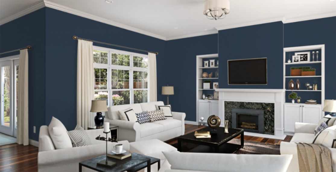 living room painted in navy with white accents