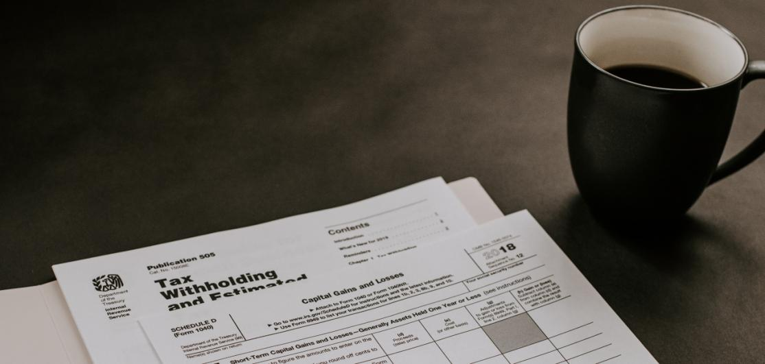 U.S. tax paperwork on a desk
