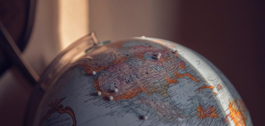 The United States on a desk globe