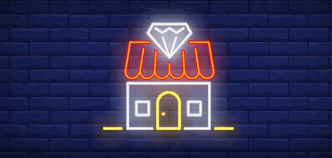 neon home with diamond