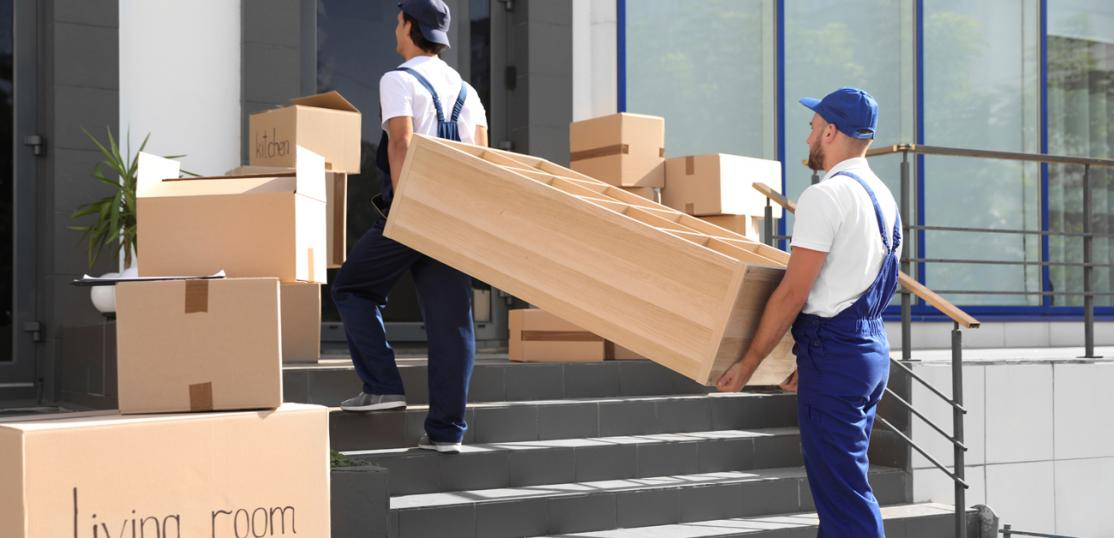 movers with furniture and boxes