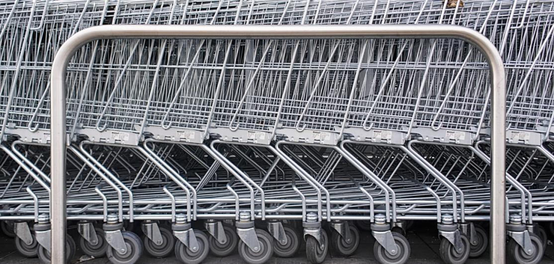 A line of unused shopping carts