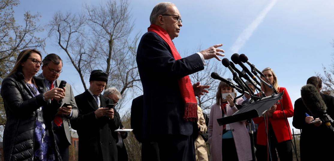 Larry Kudlow, Director of the U.S. National Economic Council, answers questions outside the White House on March 16, 2020.
