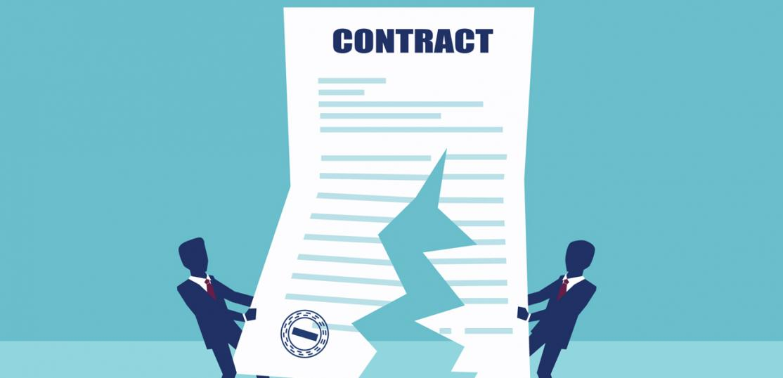 illustration of two lawyers ripping apart a contract