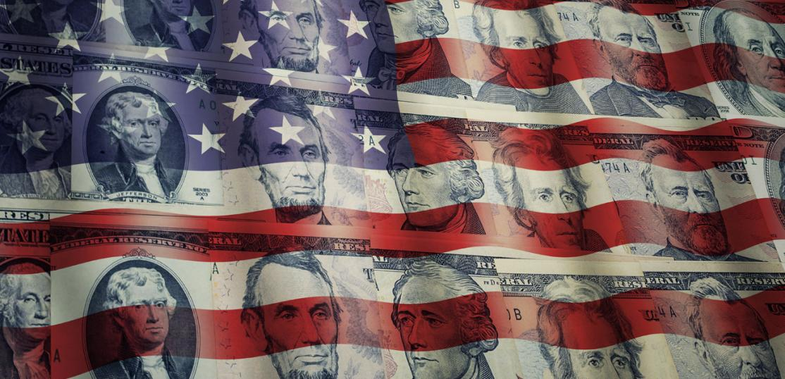 US flag with money screen over image