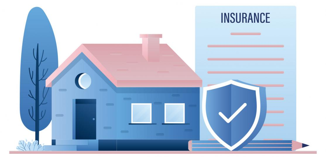 illustration, home, insurance document and shield