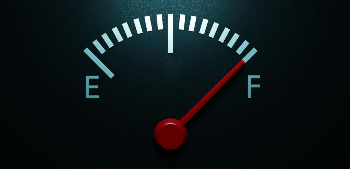 "Fuel gage at ""F"""