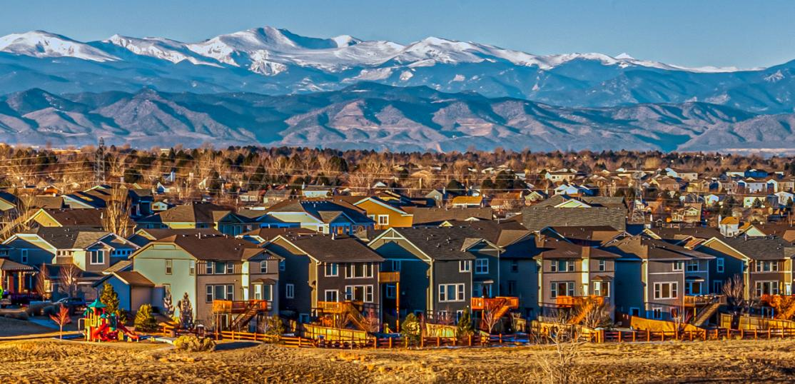 drone shot of Colorado neighborhood