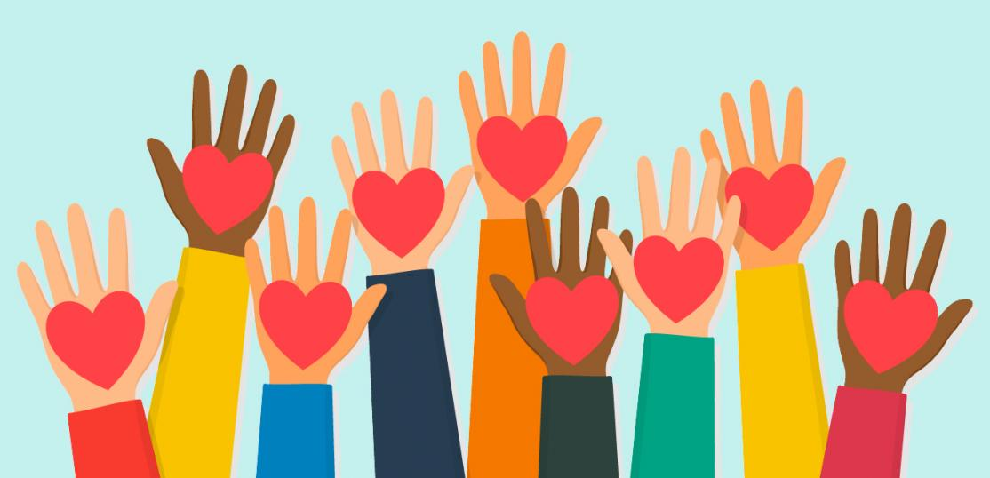 illustration of raised hands with hearts