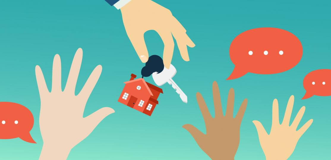 illustration, hand holding out home key, multiple hands reaching for it
