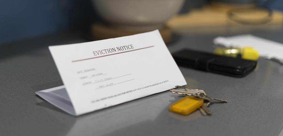 eviction letter on table