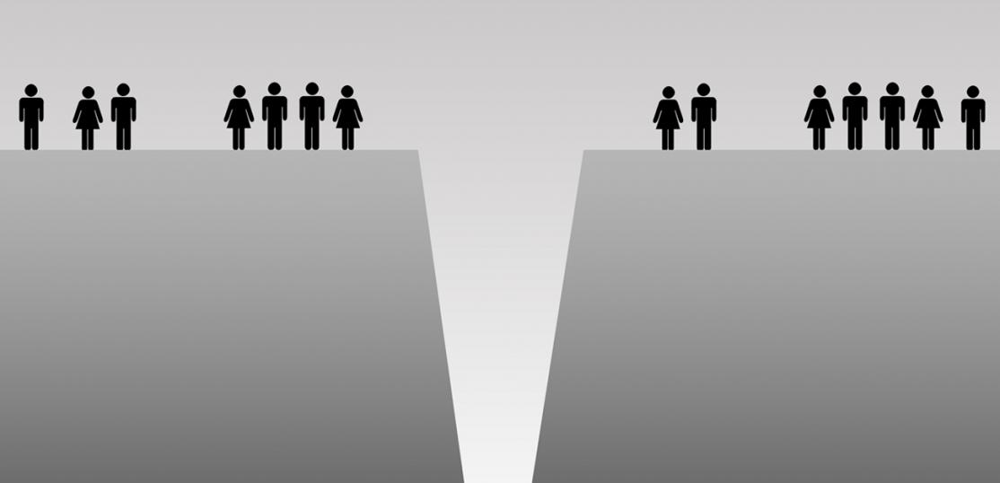 illustration of two groups of people divided by gap