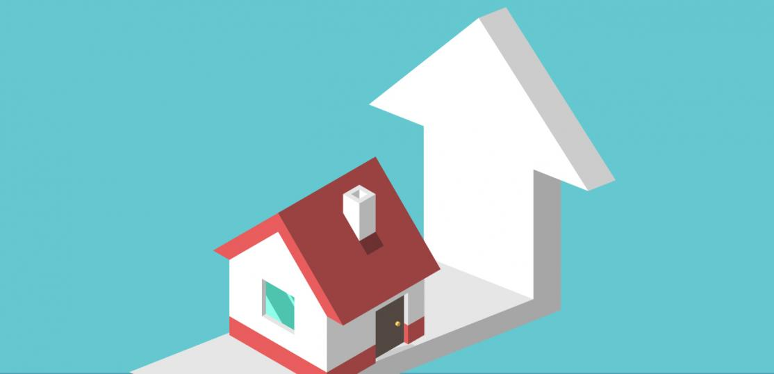 illustration of house and up pointing arrow