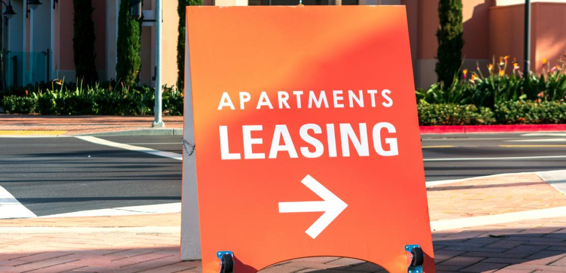 apartment leasing board sign