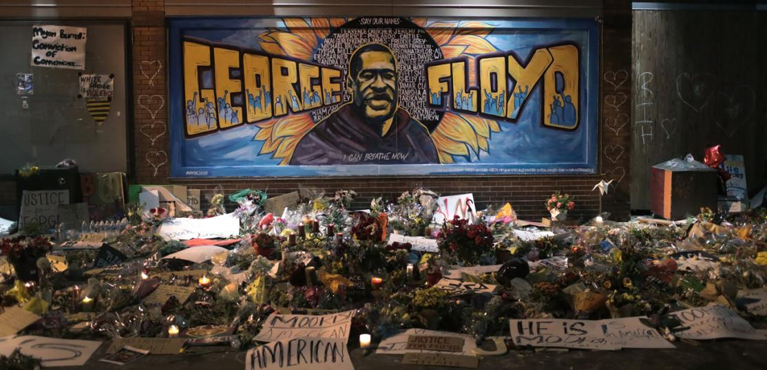 Candles burn at a memorial at the spot where George Floyd was killed, on June 1, 2020 in Minneapolis, Minnesota.