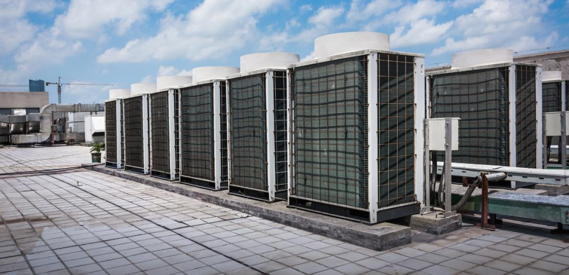 Commercial HVAC system on rooftop