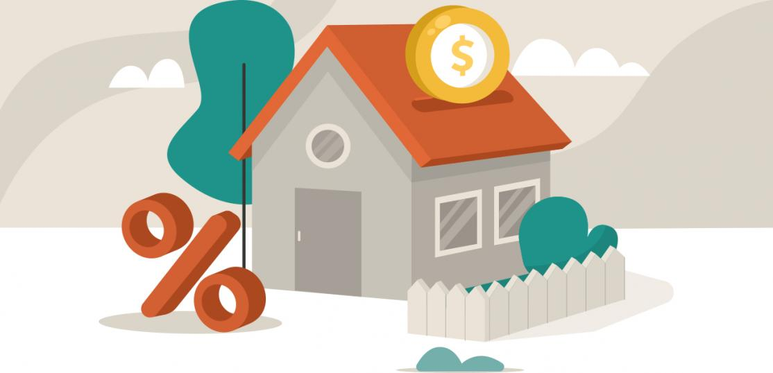 illustration of home with interest rate symbol