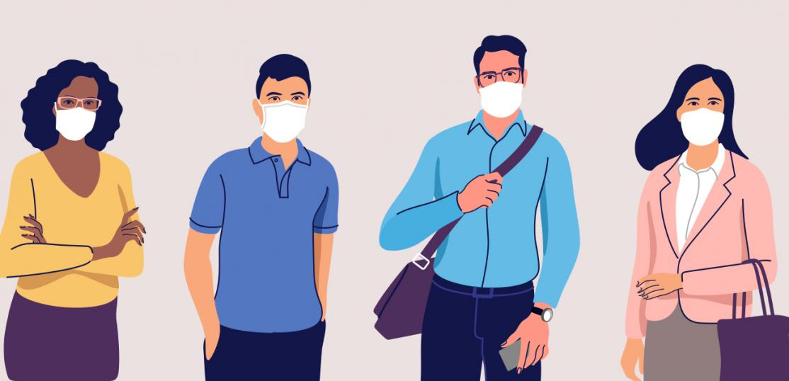 illustration of people in masks