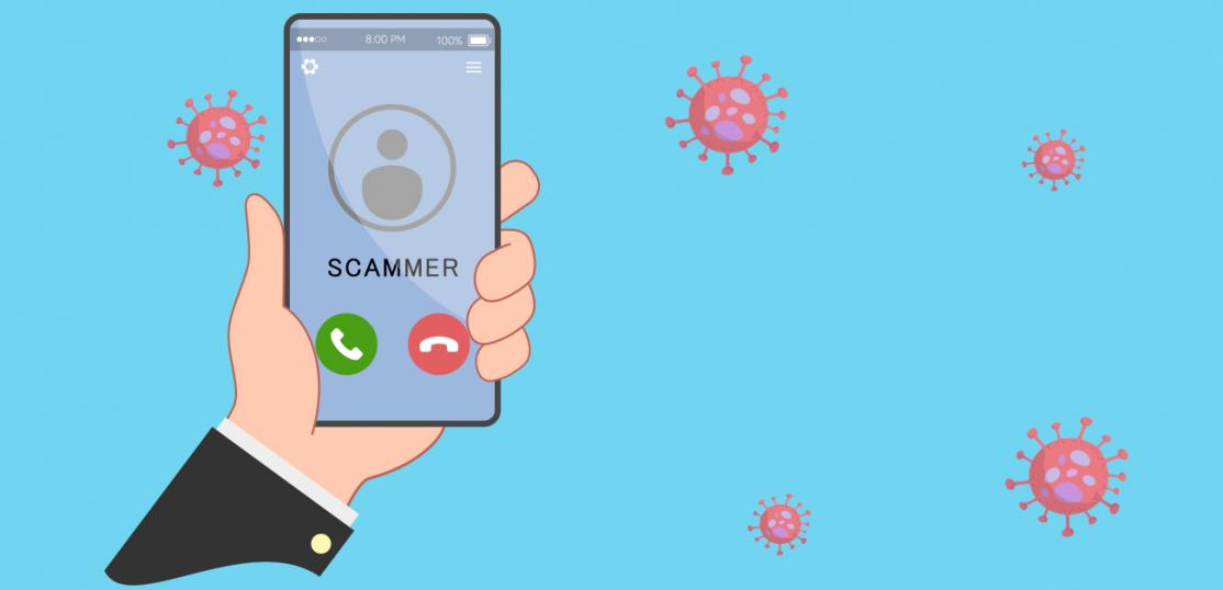 illustration, hand holding phone with incoming scam call