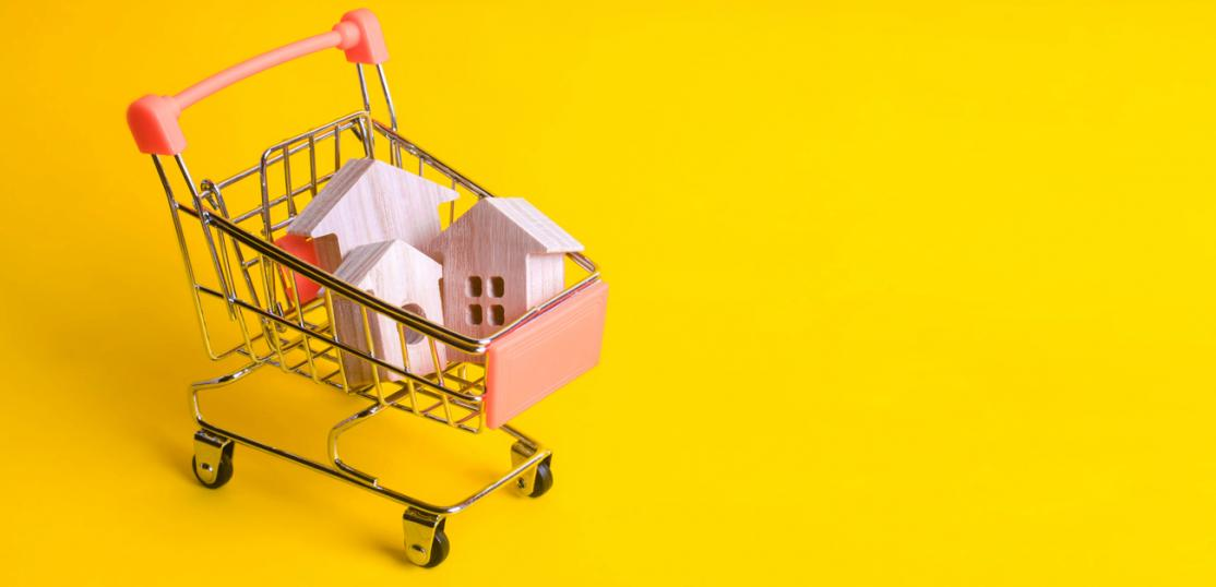 toy shopping cart with houses