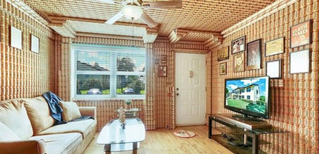 living room covered in beer cans