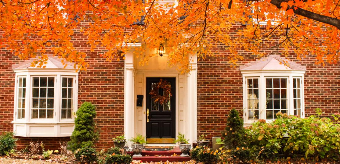 colonial home in fall