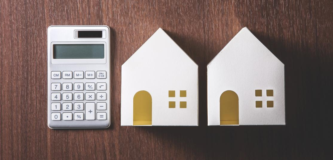 two homes and calculator