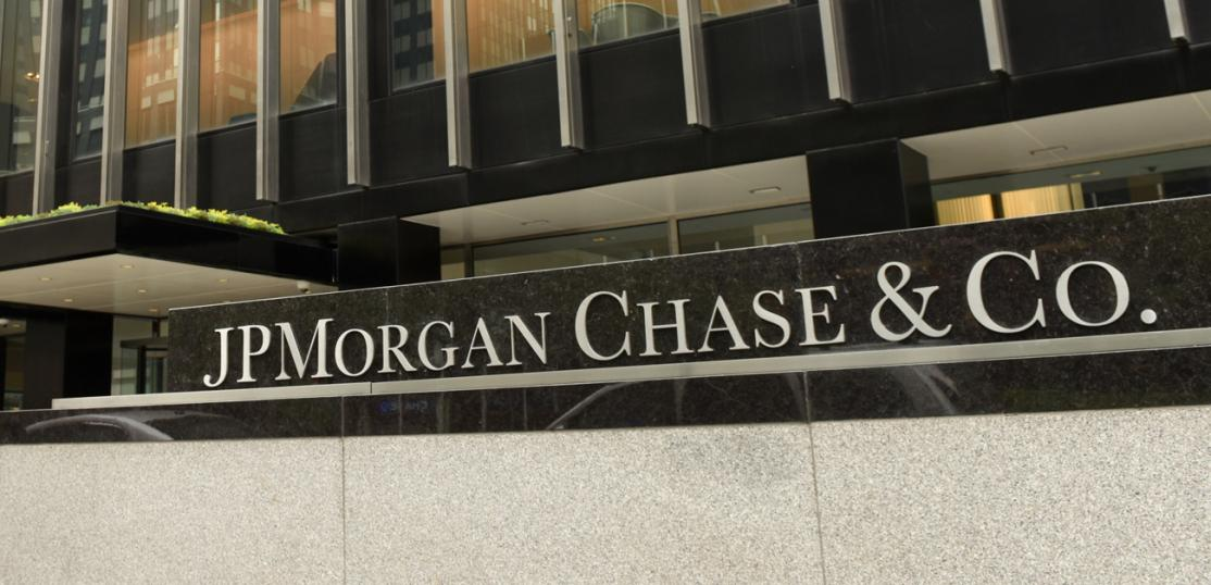 JP Morgan Chase & Co sign in from of building