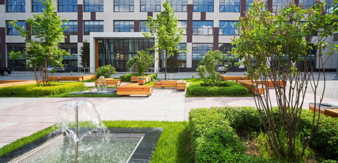 green space in front of office building