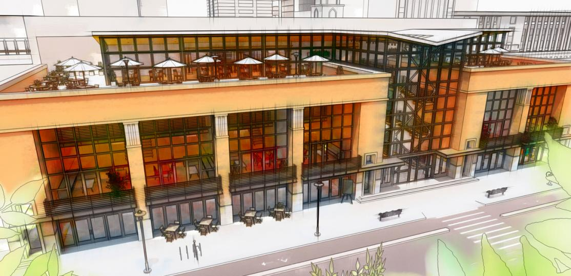 rendering of mixed retail, office spaces