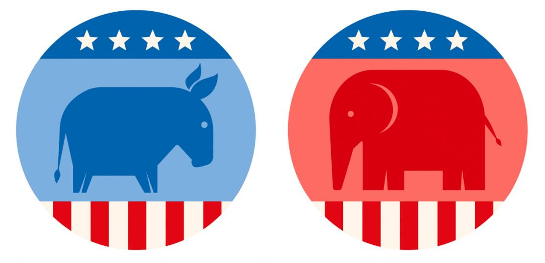 democrat and republican buttons