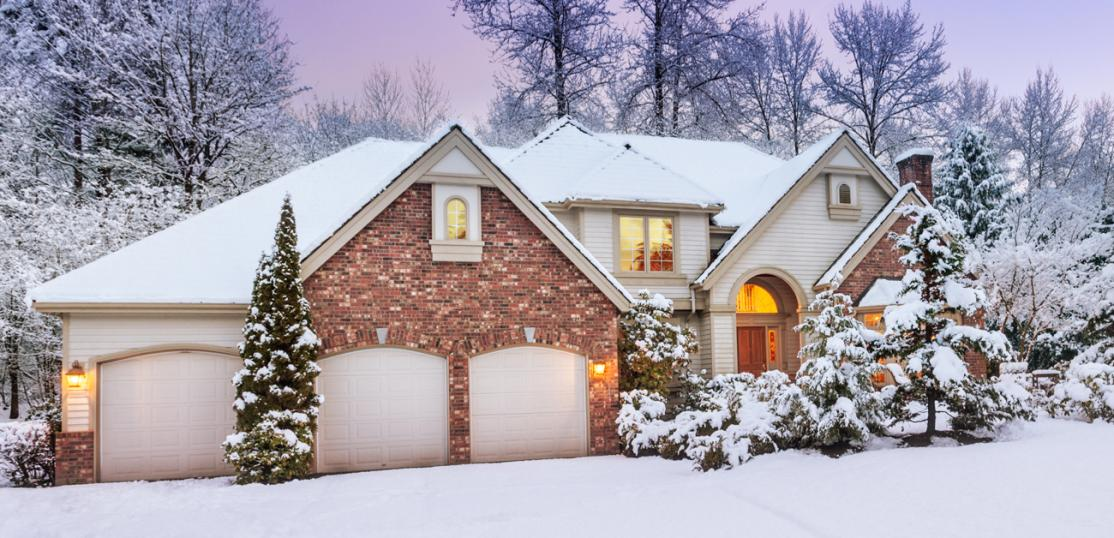 large newer home in winter