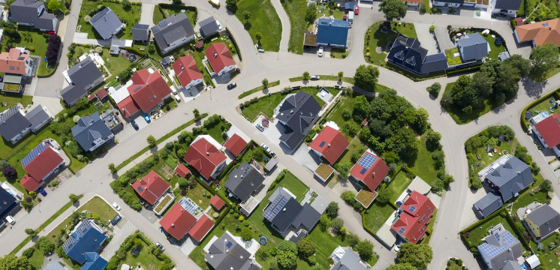 Aerial view of suburban homes.