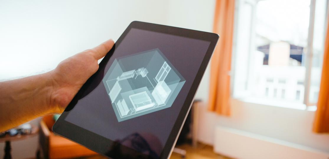 Tablet with 3D home floorplan