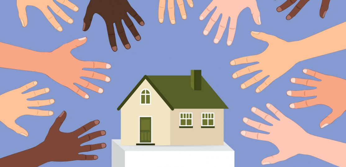 Hands grabbing for a house to illustrate supply and demand