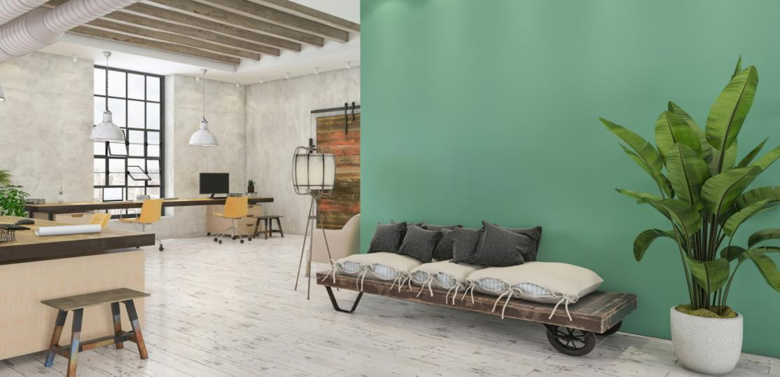 Living space with green wall
