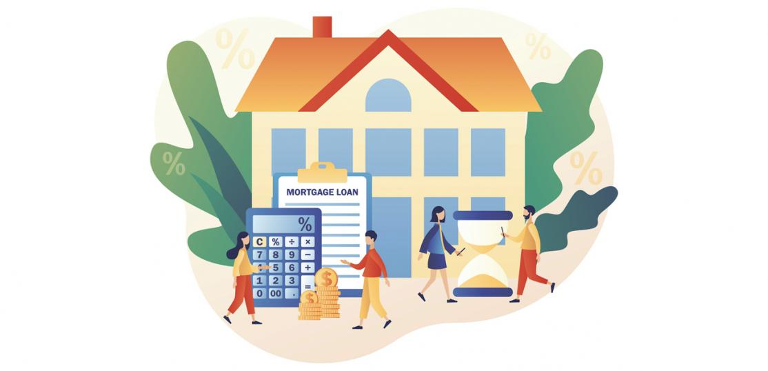 Mortgage loan concept with cartoon people buying house.