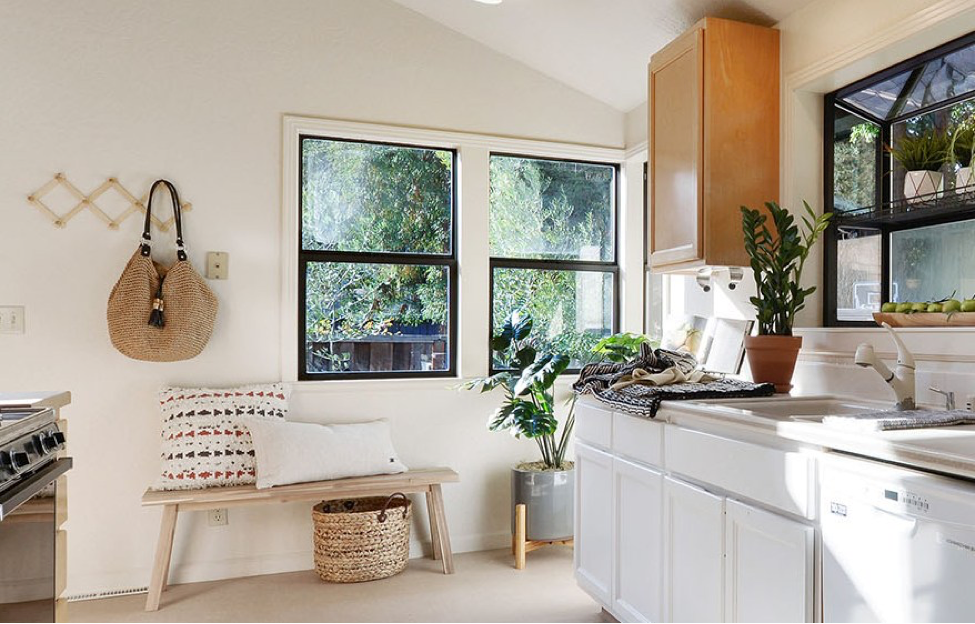kitchen staged with a beach bag in summer