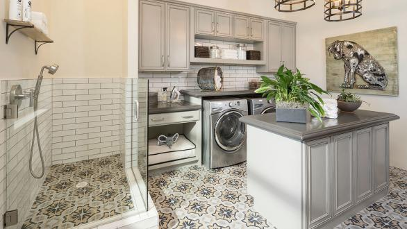 staged laundry room with dog amenities