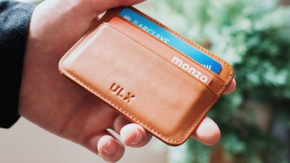 Credit cards in a leather wallet