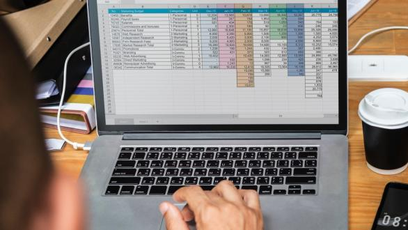 A spreadsheet on a laptop screen