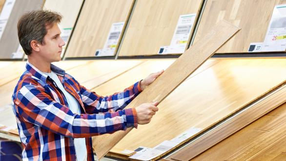 Man shopping for hardwood floor