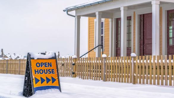 open house sign in front of home