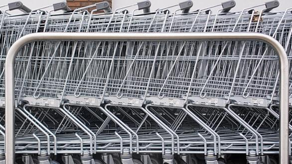 A row of shopping carts