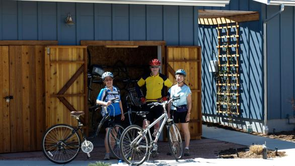cyclists at Silver Sage Cohousing