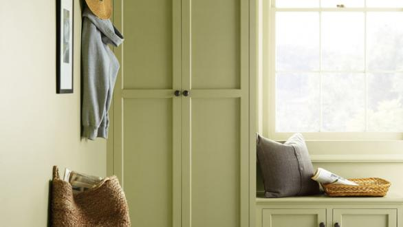 """mudroom painted in Behr's """"Back to Nature"""""""
