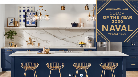 kitchen in navy/white color theme